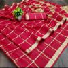Red color kota doriya silk saree with checks pattern