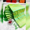 Parrot green color banarasi jacquard silk saree with beautiful tassel work