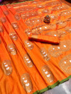 Orange color soft banarasi silk saree with meenakari design & golden zari weaving work