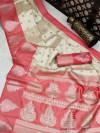 Pink and off white color banarasi art silk saree with zari weaving work