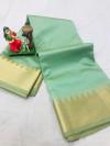 Sea green color soft cotton saree with golden zari weaving border