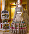 Multi color mono net lehenga with embroidery and sequence work