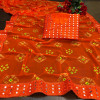 Orange color georgette bandhani saree with border work