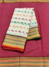 White color drape kota doriya saree with jacquard border & thread butti