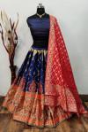 Navy blue and red color banarasi brocade lehenga with banarasi dupatta
