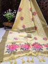Yellow color pure linen weaving saree with zari woven border & pallu