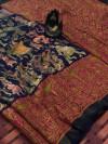 Navy blue color linen digital & kalamkari print saree with fancy pallu