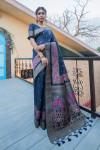 Blue color pure tussar silk saree with zari border & pallu