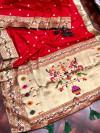 Red color pure kanchipuram paithani silk saree with full stitching pallu & border