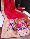 Gajari color banarasi soft silk paithani saree with zari border & exclusive zari pallu