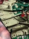 Green color soft banarasi saree with weaving golden  zari border