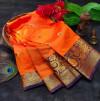 Orange color soft lichi silk saree with rich pallu