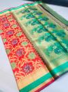 Red color banarasi patola saree with contrast zari weaving pallu