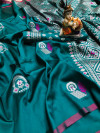 Rama green color lichi silk saree with minakari & silver weaving work
