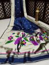 Navy blue color banarasi soft silk paithani saree with zari border