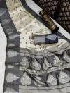 Gray and off white color banarasi art silk saree with zari weaving work