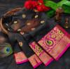 Black color soft lichi silk saree with rich pallu