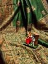 Green color pure bhagalpuri silk saree with attractive thread work