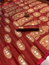 Brown color soft banarasi silk saree with meenakari design & golden zari weaving work