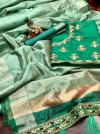 Sea green color banarasi soft cotton silk saree with golden border