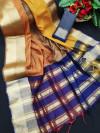 Multi color chanderi cotton saree with zari woven border & contrast pallu