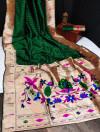 Green color banarasi soft silk paithani saree with zari border & exclusive zari pallu