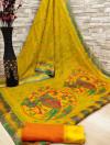 Yellow color soft cotton kalamkari print saree with mirror work