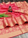 Pink color pure cotton saree with designer weaving border