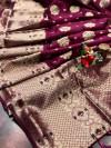 Magenta color soft banarasi saree with weaving golden  zari border