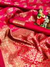 Gajari color soft banarasi silk saree with golden zari and jacquard weaving work