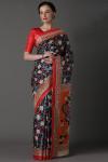 Multi color manipuri cotton saree with kalamkari printed work