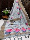 Gray color pure linen weaving saree with zari woven border & pallu