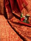 Red color pure bhagalpuri silk saree with attractive thread work