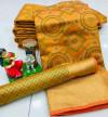 Mustard yellow color soft banarasi patola silk saree with heavy weaving rich pallu