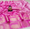 Baby pink color soft cotton saree with kanchi weaving border