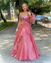 Pink color organza silk lehenga with thread work in Blouse