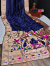 Navy blue color banarasi soft silk paithani saree with zari border & exclusive zari pallu