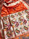 Orange color minakari pure silk saree with superb pallu & jalar