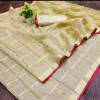Cream color kota doriya silk saree with checks pattern