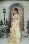 Cream color soft cotton silk weaving work saree