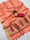 peach color matalic linen saree with zari weaving border & gorgeous pallu