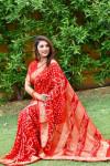 Red color pure bandhej silk saree with zari weaving border