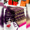Magenta color banarasi jacquard silk saree with beautiful tassel work