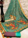 Rama green color soft cotton kalamkari print saree with mirror work