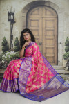 Pink color kanchipuram handloom weaving silk saree