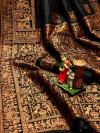 Black color pure bhagalpuri silk saree with attractive thread work