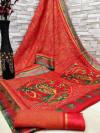 Red color soft cotton kalamkari print saree with mirror work