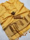 Yellow color matalic linen saree with zari weaving border & gorgeous pallu