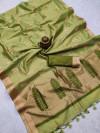 pista green  color matalic linen saree with zari weaving border& gorgeous pallu