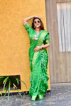 parrot green color pure bandhej silk saree with zari weaving border